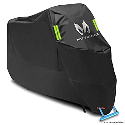 "MICTUNING XXL Motorcycle Cover- All Weather Oxford UV-Protection w/Anti-Thief Lock Hole & Reflectors Motorbike Cover- Universal for Honda, Yamaha, Suzuki, Harley (104"" Max, Bonus Storage Bag)"