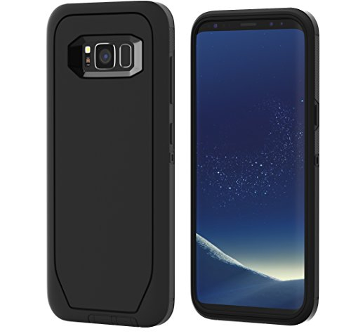 Galaxy S8 Armor Case Heavy Duty Protector Cover [DEFENDER] with 1-Pack Tempered Screen Glass Protector. Soft Inner and Hard Outer Layers - Black - Exclusive Glass
