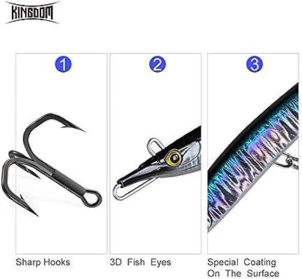 Kingdom Pesca con señuelos Sinking lápiz Duro Cebo Artificial ...