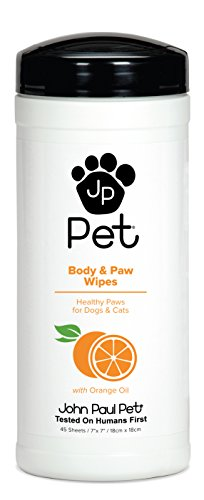 "John Paul Pet Body and Paw Pet Wipes for Dogs and Cats, Infused with Orange Oil, 7"" x 7"" Sheets in 45-Count Dispenser"
