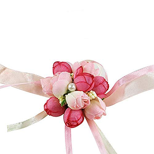 Wedding Wrist Flower Hand Flower Wristband Corsage for Wedding/Party/Prom/Children Dance Show, Pack of 4 (Pink)