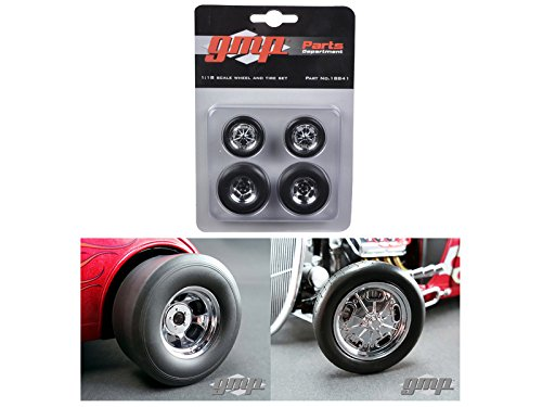 (GMP 18841 Chromed Hot Rod Drag Wheels and Tires Set of 4 1/18)