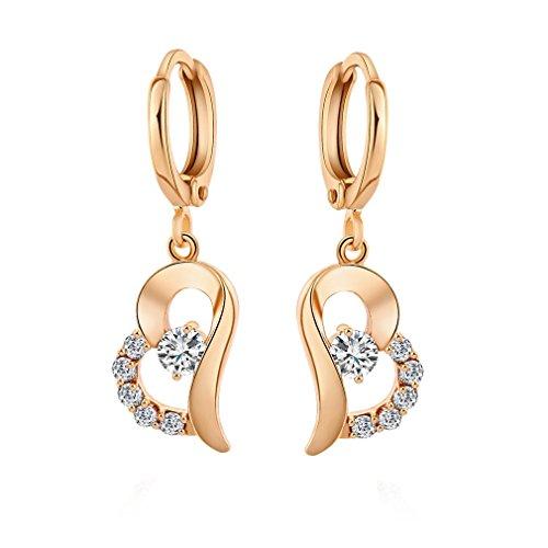 Yazilind 18K Gold Plated Cubic Zirconia Hoop Earrings Heart Drop Dangle Earrings for Women