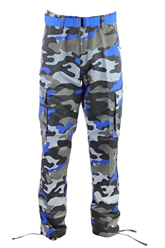 Access Men's Camouflage Cargo Pants with Belt (Black Royal, 42)