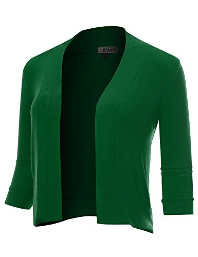 Kelly Ribbed Green (BIADANI Women Classic 3/4 Sleeve Crop Cardigan Kelly Green Large)