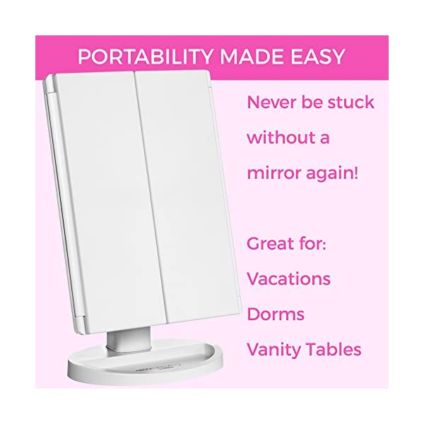 Absolutely-Lush-Lighted-Makeup-Mirror-Vanity-Mirror-with-Lights-Touch-Screen-Dimming-Tri-Fold-1x-2X-3X-Magnification-Sections-Portable-High-Definition-Clarity-Cosmetic-Light-Up-Magnifying-Mirror
