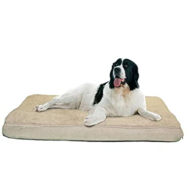 FurHaven Pet Nap Terry and Suede Deluxe 35-Inch by 44-Inch Orthopedic Pet Bed, Jumbo, Clay