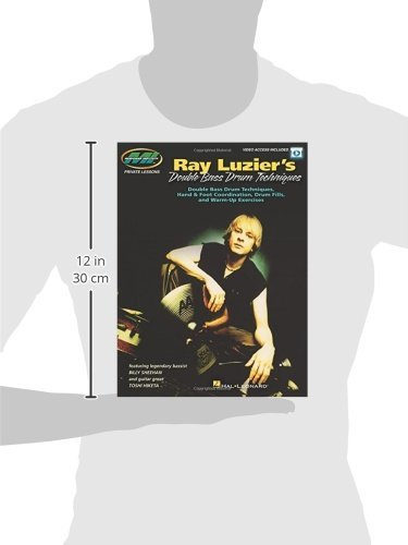 Picture of a silhouette of a person holding the Ray Luzier Kindle Double Bass Drum Techniques to show its dimensions