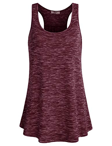 (Cestyle Gym Shirts for Women, Ladies Fitness Tops Activewear Clothes Sleeveless Scoop Neck Loose Fit Knitted Breathable Flowy Racerback Cami Tanks XX-Large Wine)
