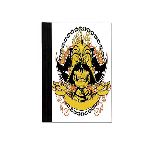 Japanese Stylish Notebooks,Skeleton Warrior with Axes on Helmet in Fire and Chain Medieval Asian Mythology for School Office,One size