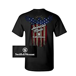 S&W Distressed American Made Flag Pocket Tee in Black – Officially Licensed