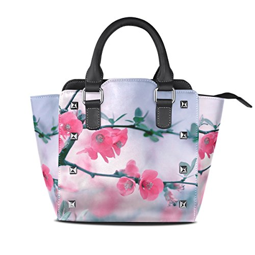 Pretty Women's Handbags TIZORAX Bags Shoulder Flowers Leather Pink Tote tS44T