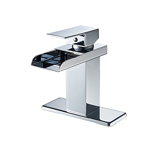 Handles Chrome Waterfall (Eyekepper Modern Single Handle Waterfall Bathroom Sink Faucet (Chrome Finish))