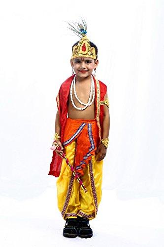 [Shree Balaji Dress Big Boys' Lord Krishna Dress Fancy Dress Cosplay Costume Small Orange] (Fancy Dress Krishna Costume)