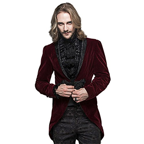 Devil Costume Steam (Gothic Mens Tailcoat Jackets Steampunk Red Victorian Coat Renaissance Hallowmas Costume (L, Red))