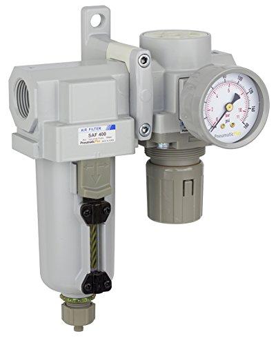 PneumaticPlus SAU420-N06G-MEP Compressed Air Filter Regulator Combo 3/4' NPT - Metal Bowl, Manual Drain, Bracket, Gauge