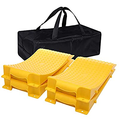 Homeon Wheels Tire Saver Ramps Anti-Slip Pads Design, Car Tire Wheel Ramps for Flat Spot and Flat Tire Prevention, Tire Savers for Storage, Carrying Bag, Easy to Store 4 Pack (WH-400) Yellow: Automotive