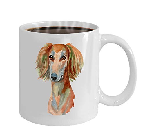 Funny Gifts for Halloween Party Gift Coffee Mug Tea saluki dog hand painted isolated white background -
