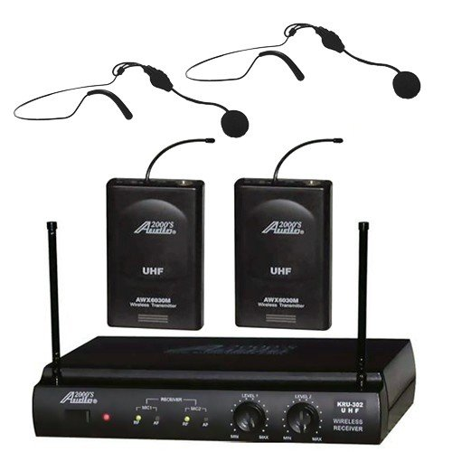 Audio2000 Awm6032uh UHF Dual Channel Wireless Microphone System with Two Headset Mic by Audio2K