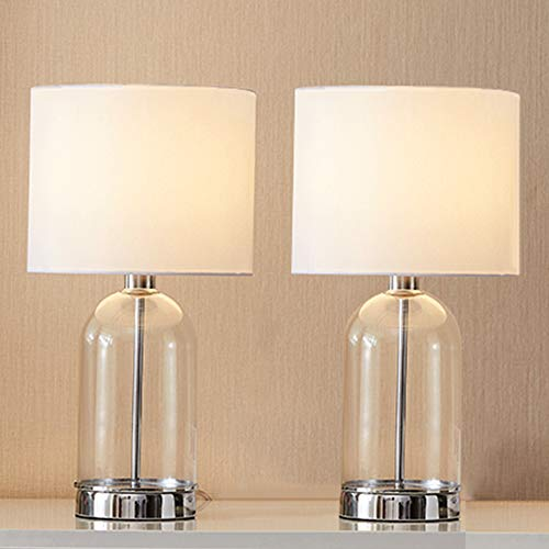 (Cuaulans 2 Pack Glass Table Lamps, 16.15 inch High Chrome Finished Cylindrical Side Desk Lamp with White Fabric Shade and Glass Body)