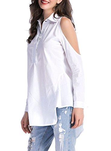 JackenLOVE Tunique Bouton Long Chemisiers Blanc avec Couleur Printemps Revers Casual Tops Dnude Longues Blouses Femmes Irrgulier Unie Fashion Haut paule Manches rwqCrBAnH