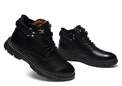 Casual Cashmere Autumn Plus Men's Jackdaine Winter Casual Shoes Boots Black and Leather Fashion OH6naB