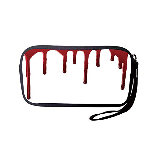 iPrint Neoprene Wristlet Wallet Bag,Coin Pouch,Horror,Flowing Blood Horror Spooky Halloween Zombie Crime Scary Help me Themed Illustration,Red White,for Women and Kids