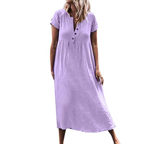 Finedayqi  Woman Dress,Women Casual Solid V-Neckline Roll Up The Sleeve Dress Splice Button Dress Purple