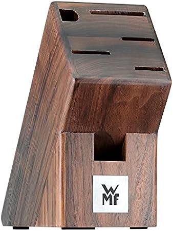 WMF Spitzenklasse Plus Juego de 4 Cuchillos y Afilador Chaira con Soporte de Madera Nogal, Hoja de Acero Templado Completamente Forjado