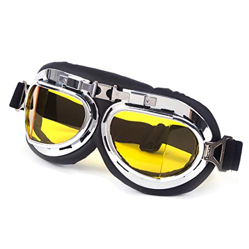 Mojave Glass - SAYFUT Sports Vintage Pilot Style Motorcycle Cruiser Scooter Goggle Yellow Lens