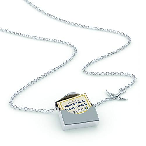 (NEONBLOND Locket Necklace Worlds Best Piano Tuner Certificate Award in a Silver Envelope)