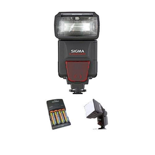 Adorama Nimh Battery Charger - Adorama Sigma EF-610 DG Super Shoe Mount Flash for Nikon iTTL Digital SLRs - Basic Outfit - with 4 NiMH Batteries, Charger, Mini SoftBox Diffuser