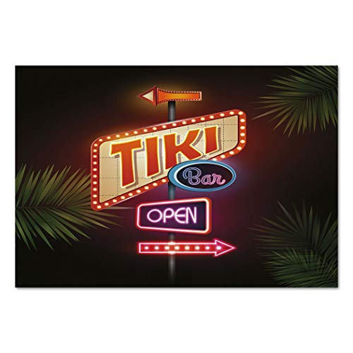 Large Wall Mural Sticker [ Tiki Bar Decor,Old Fashioned Neon Signs Illustration Open Bar Palm Tree Branches Roadside Decorative,Multicolor ] Self-adhesive Vinyl Wallpaper / Removable Modern Decorating ()