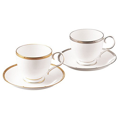 Bone china lock Chelmsford Gold / Platinum tea and coffee porcelain bowl plate pair set (switched colors) P50788A/4796-5 (japan import)