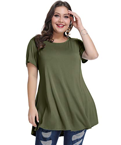 MONNURO Womens Short Sleeve Casual Loose Fit Flare Swing Tunic Tops Basic T-Shirt Plus Size(Army Green, 1X) -