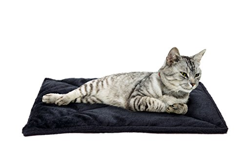 Furhaven Pet Dog Bed Heating Pad | ThermaNAP Quilted Faux Fur Insulated Thermal Self-Warming Pet Bed Mat for Dogs & Cats, Black