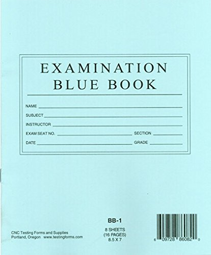 TestingForms.com 8.5'' x 7'' Examination Blue Book 8 Sheets 16 Pages 400 Booklets