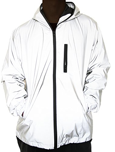 (Fangfei® 3m Scotchlite Reflective Coat Hooded Windbreaker Fashion Jacket (Asian XL = US)