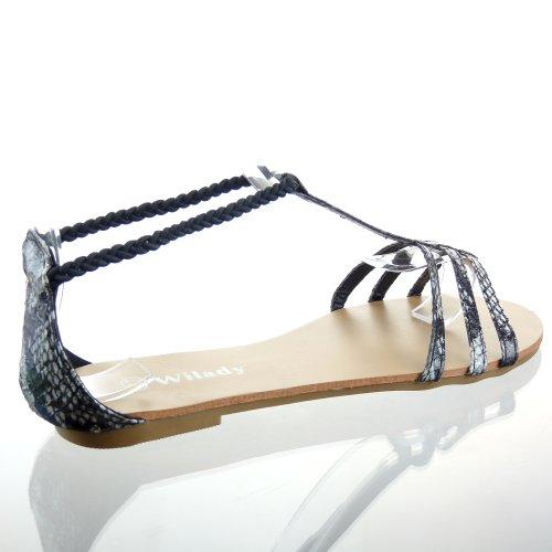 Kickly-Scarpe sportive sandalo infradito Claquettes-Cavigliera da donna, motivo: pelle di serpente tallone blocco 1 CM, interno in pelle, colore: nero