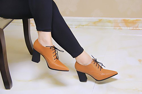 Zapatos Nuevo Heels Orange Partido Simple Alto Comodos Todo British Zapatos Estilo Ladies KPHY Shoes De El Invierno Rough Tacon dxUqnwTz