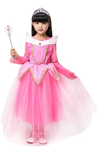 YMING Girls Pink Princess Cosplay Dress Halloween Sleeping Beauty Costume 4-5T (Infant Pink Flapper Costume)
