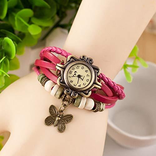 (Werrox Retro Weave Around Leather Bracelet Watch Fashion Lady Woman Quartz Wrist Watch | Model BRCLT - 22173 |)