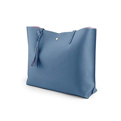 mujeres taleguilla las de las bolsos de Gris la grande de de cuero de bolsas de mensajero mano del moda borlas hombro de Bolso la las imitación de bolsos del señoras xXqfIF