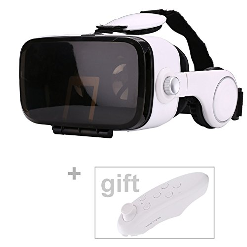 Mini 3D Glasses BOX VR BOX Virtual Reality Headset with Headphones and Remote Combined with Visual and Auditory Adjustable Focal Distance for 4.7-6.2 Inches Smartphones of Android / IOS