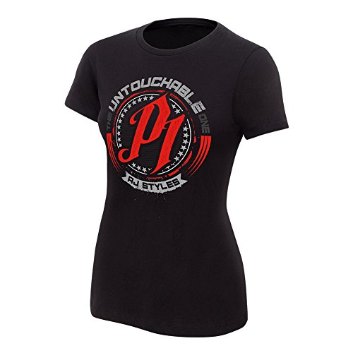 WWE AJ Styles Untouchable Women's Authentic T-Shirt Black Medium by WWE Authentic Wear