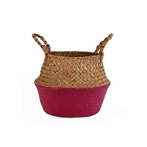 Handmade Bamboo Storage Baskets Laundry Basket Straw Patchwork Wicker Rattan Seagrass Belly Garden Flower Pot Planter Basket,Rose Red,27CMX24CM