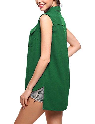 Epaule Chemisier Tops Sexy Col Casual Manche Nue Femme Rond Chemise Vert Modfine Sans Tunique Soie Uni S7q0Pt