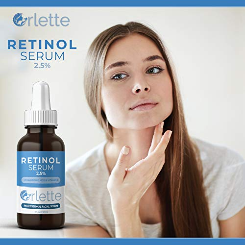 41ZXaOuodQL - Orlette Retinol Serum 2.5% - Professional Grade Skincare - Vitamin A and E, Hyaluronic Acid - Anti-Aging, Hydrating Skin and Face Moisturizer - Wrinkle, Acne Spot, Pigmentation, Blemish Remover - 30ml