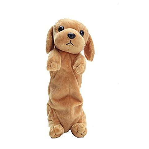 Soft Plush Puppy Animal Toy with Zipper Pen Pencil Case Cute Puppy Bag for Children Gift Ballpoint Case Stationery Bag for Student (Golden)