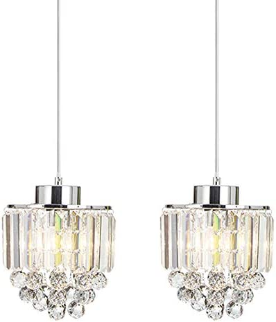 COTULIN Set of 2 Polished Decorative Crystal Chandelier Pendant Light,Pendant Lighting Fixture Cord Adjustable for Living Room Dining Room Bar